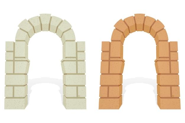 Conjunto de arcos 3d isométricos arquitectónicos de piedra.