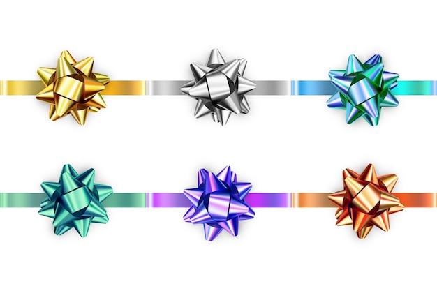 Conjunto de arcos brillantes realistas aislado sobre fondo blanco.