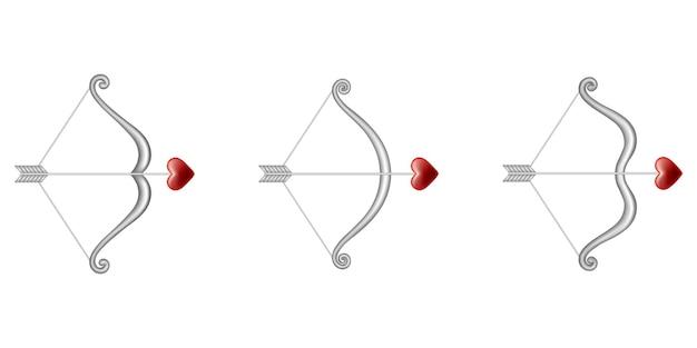 Conjunto de arcos de cupidos con flechas en forma de corazón