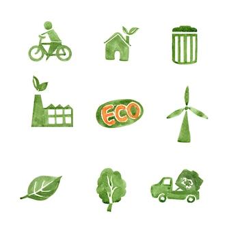Conjunto de área verde acuarela, ilustración dibujada a mano de elementos aislados