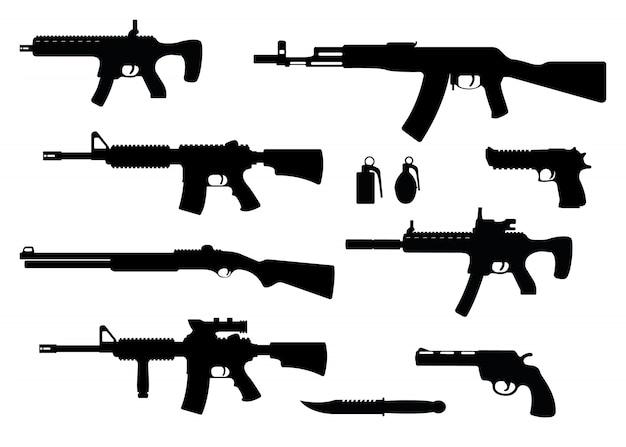 Conjunto de arma rifle militar, revólver y pistola de águila del desierto, carabina de escopeta, granada, cuchillo y metralleta negro simple icono ilustración, aislado de blanco.
