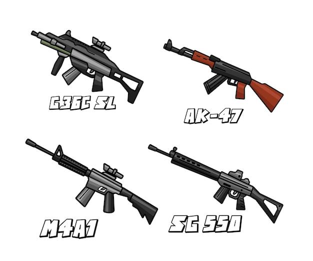 Conjunto de arma sssault riffle