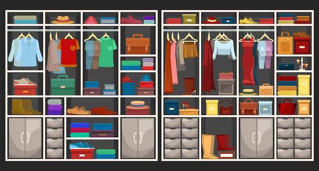 Conjunto de armarios para hombres y mujeres.
