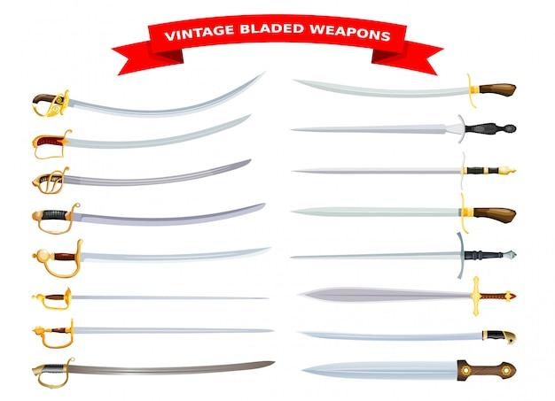 Conjunto de armas afiladas de estilo de dibujos animados