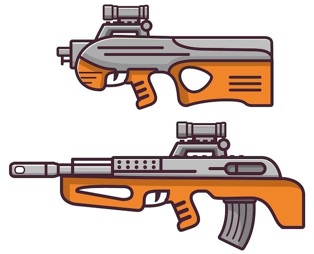 Conjunto de armas de armas de fuego de rifles