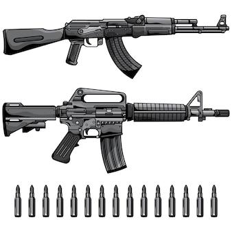 Conjunto de armas de fuego ametralladora automática