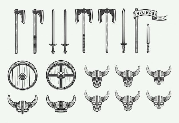 Conjunto de armas vikingas vintage.