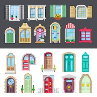 Conjunto arquitectónico detallado de puertas y ventanas.