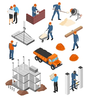 Conjunto de arquitectos de iconos isométricos con planos y constructores en el trabajo con materiales de construcción aislados