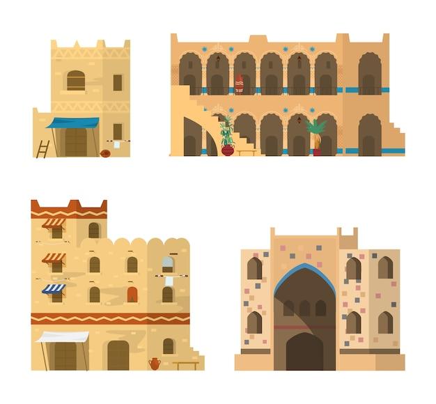 Conjunto de arquitectura islámica tradicional. edificios de ladrillos de barro con mosaicos, adornos y toldos. ilustración.