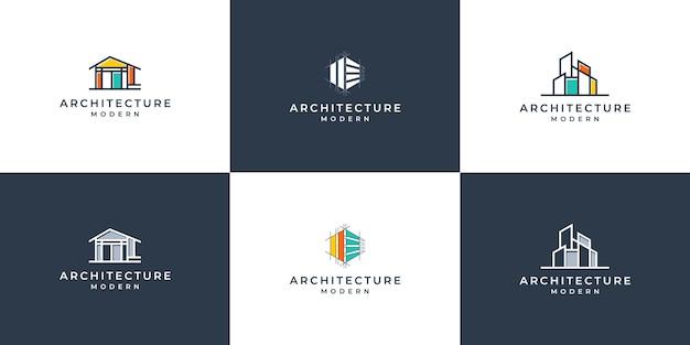 Conjunto de arquitectura de logotipo con plantilla de diseño de logotipo de concepto de revestimiento