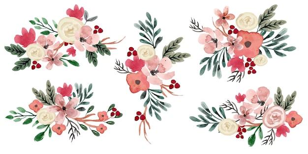 Conjunto de arreglos de acuarela de rosa blanca y greneery