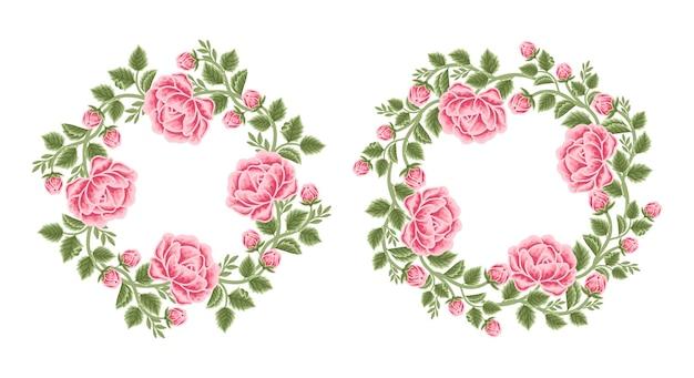 Conjunto de arreglos de corona y marco de flor rosa vintage