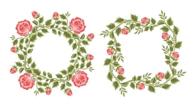 Conjunto de arreglos de corona y marco de flores de peonía vintage