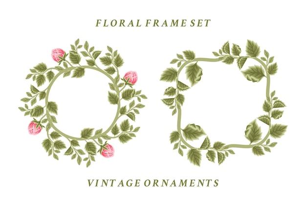 Conjunto de arreglos de corona y marco de flores vintage