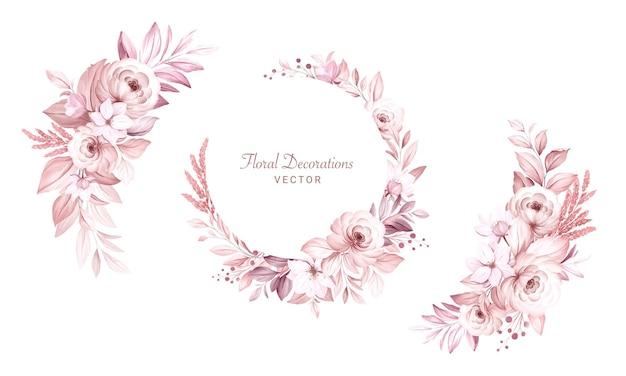 Conjunto de arreglos florales de acuarela de hermosas flores y hojas cremosas suaves