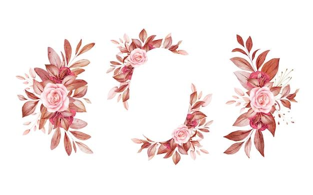 Conjunto de arreglos florales de acuarela de rosas y hojas marrones y burdeos y marrones.