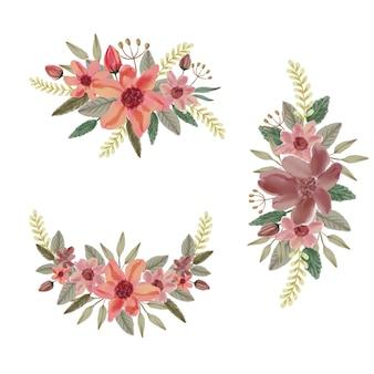 Conjunto de arreglos florales de acuarela