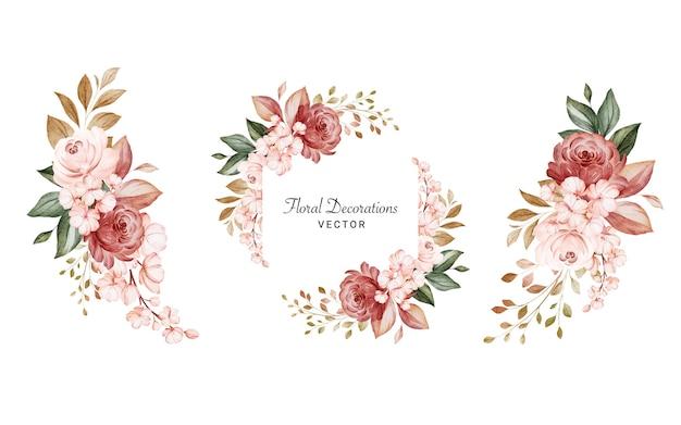 Conjunto de arreglos florales acuarelas de rosas y hojas.