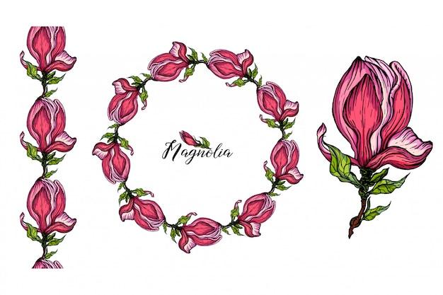 Conjunto de arreglos florales con flores de magnolia