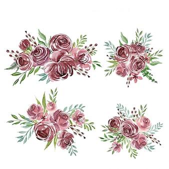 Un conjunto de arreglos de flores de acuarela púrpura o ramo para invitación de boda