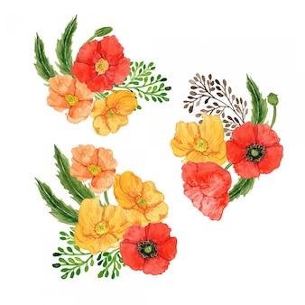 Conjunto de arreglos de flores de amapola acuarela