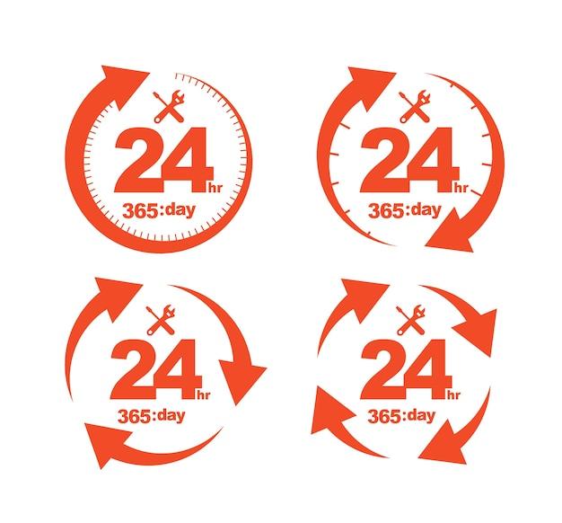 Conjunto de arrow circle service 24hr. icono de 365 días.