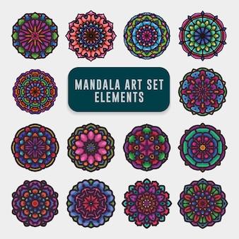 Conjunto de arte colorido mandala detallado