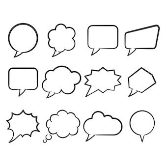 Conjunto de arte de línea de burbujas de discurso