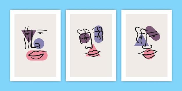 Conjunto de arte de línea de cara abstracta con ilustración de forma geométrica