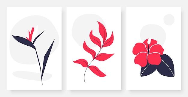Conjunto de arte de línea continua única de flores y hojas, planta tropical creativa simple abstracta