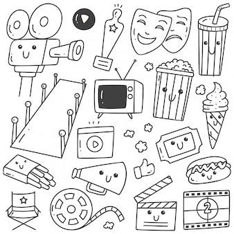 Conjunto de arte de línea de garabatos de película de estilo kawaii