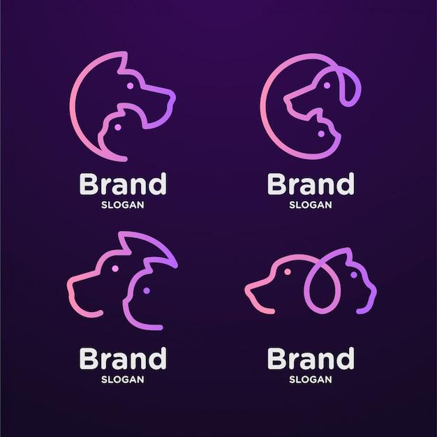 Conjunto de arte de línea de logotipo de gato y perro