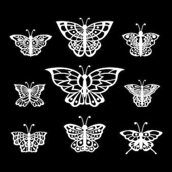 Conjunto de arte de línea de mariposas de ilustración vectorial