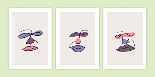 Conjunto de arte de línea de rostro humano abstracto con forma colorida