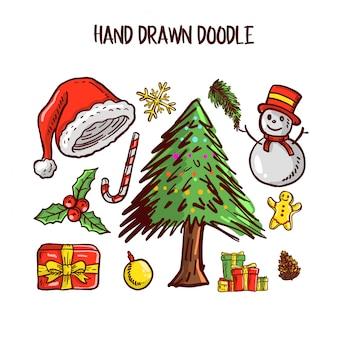 Conjunto de arte de navidad doodle