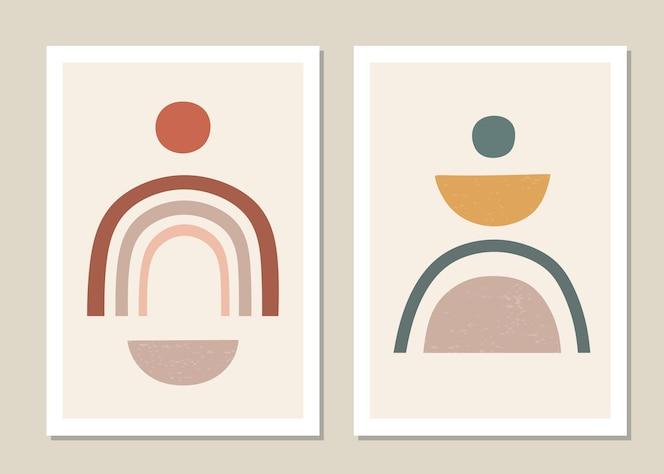 Conjunto de arte de pared abstracto. arcoiris abstracto