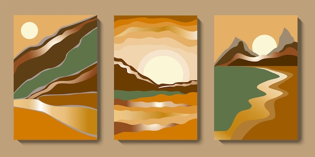 Conjunto de arte de pared de paisaje dorado abstracto minimalista colección de fondo de lujo de montañas de mediados de siglo