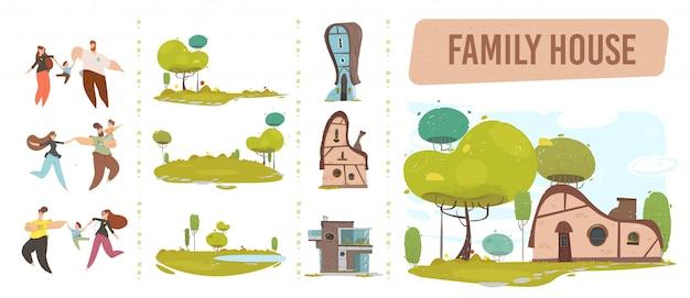 Conjunto de artesanía de casa familiar, gente feliz y naturaleza