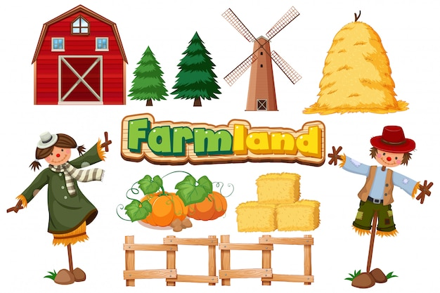 Conjunto de artículos agrícolas sobre fondo blanco.
