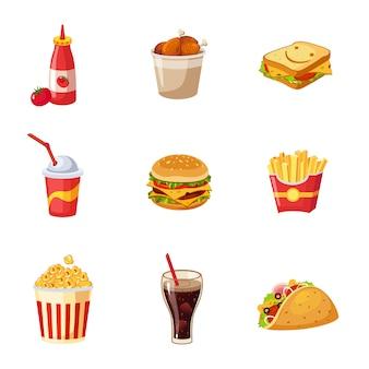 Conjunto de artículos de comida rápida