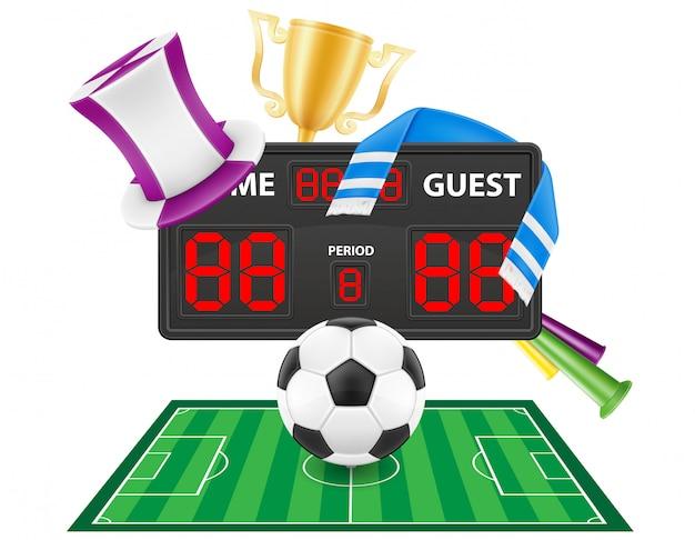Conjunto de artículos de fanático del fútbol soccer y accesorios ilustración