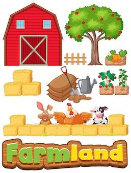 Conjunto de artículos de granja y muchos animales.