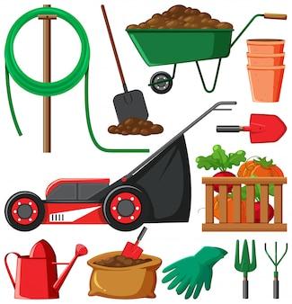 Conjunto de artículos de jardinería aislado