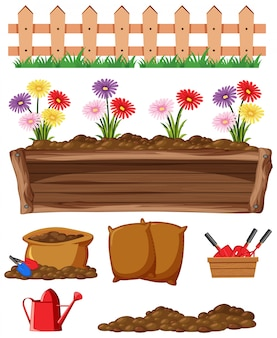 Conjunto de artículos de jardinería sobre fondo blanco.