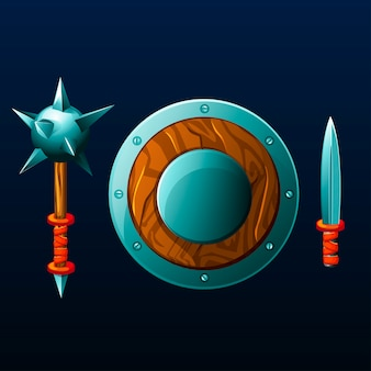Conjunto de artículos para el juego. escudo, maza y cuchillo