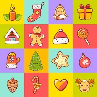 Conjunto de artículos de navidad