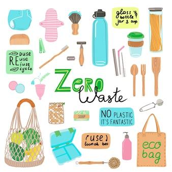 Conjunto de artículos o productos duraderos y reutilizables sin desperdicio dibujados a mano: pañal y almohadilla, frasco de vidrio, botella, taza de café, bolsa ecológica, cubiertos de madera.