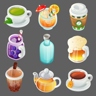 Conjunto de artículos de objeto de dibujos animados de bebidas coloridas
