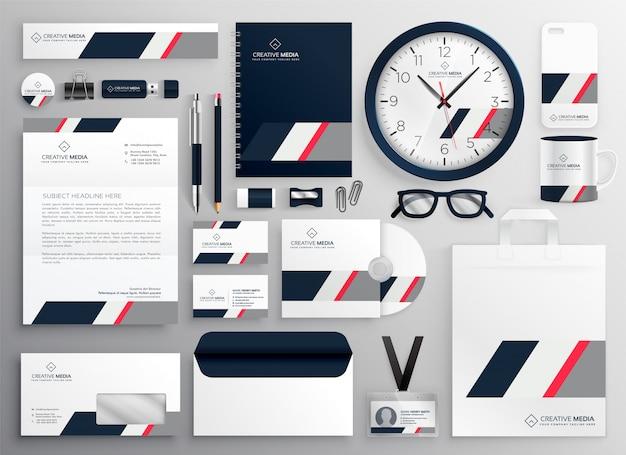 Conjunto de artículos de papelería corporativos de marca profesional